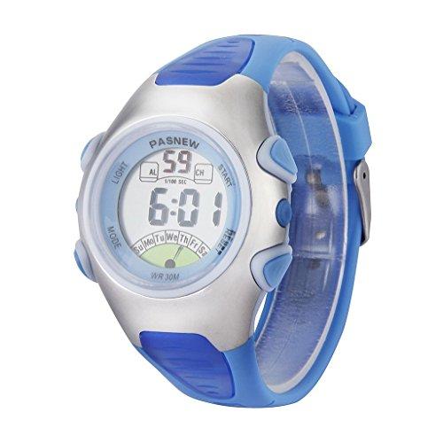 PASNEW waterproof kids boys girls LED digital sport watch-date / alarm / chronograph 3 ATM waterproof students watch [parallel import goods] (sky blue sky blue)