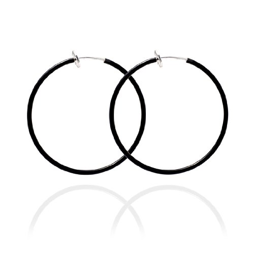 Sexy Spring Loaded Black Hoops - 4cm