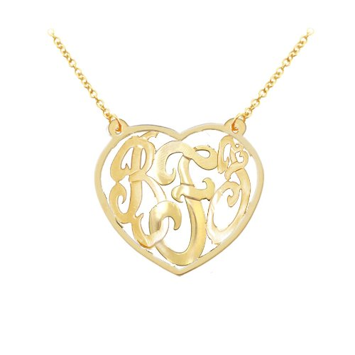1.5'' Designer Initials Heart Monogram (Order Any Initials) 24k Gold Over Sterling Silver