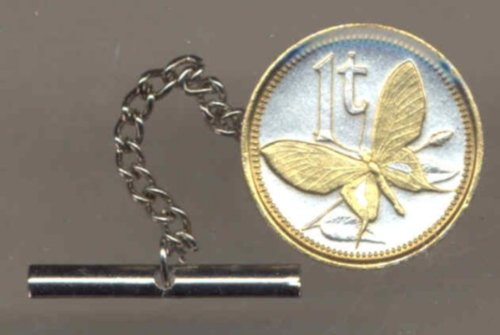 Gorgeous 2-Toned Gold on Silver World Coin Tie-Tack-122TT