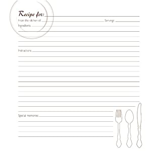 CR Gibson Family Recipe Memory Book Journal Page Refill, Pack of 40 by CR. Gibson