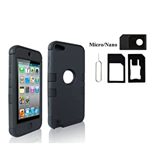 Black Hybrid Defender Hard Inner Shell with Soft Silicone Skin Case for Apple iPod Touch 5G 5th Generation