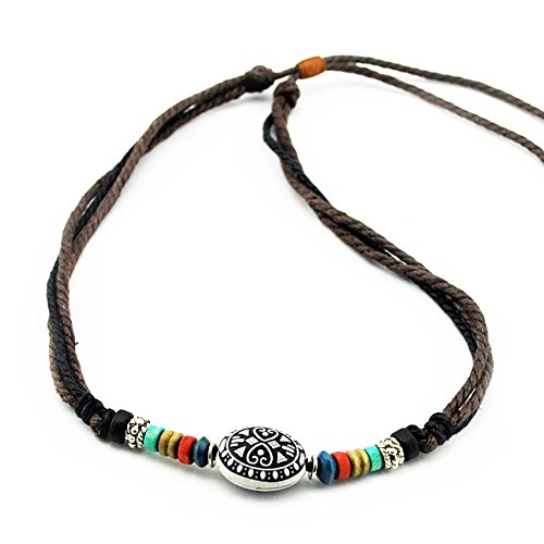 Real Spark Unisex Retro Tribal Rope Collar Colorful Beads Pendant Religious Choker Adjustable (Homemade Wings For Costume)