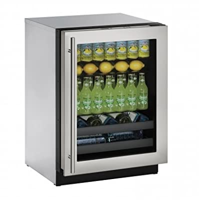 "U-Line U3024BEVS00A Built-in Beverage Center, 24"", Stainless Steel"