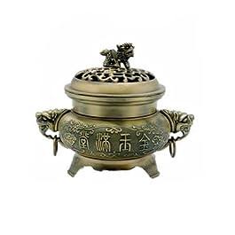Con tapa tradicional chino Fu quemador de incienso con diseño de los personajes de templo chino