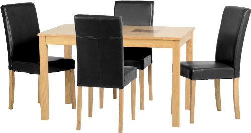 Seconique Wexford 47 inch Dining Set with 4 G3 Black Chairs - Oak Veneer/Walnut Inlay/Black Faux Leather