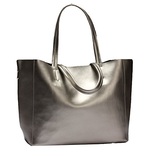 Covelin Women's Handbag Genuine Soft Leather Tote Shoulder Bag Hot Silver (Leather Italian Handbags compare prices)