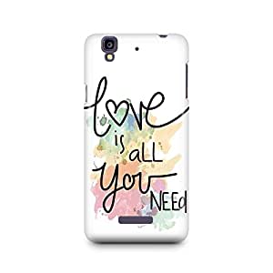 Motivatebox -Micromax Yureka Back Cover - Love is all Polycarbonate 3D Hard case protective back cover. Premium Quality designer Printed 3D Matte finish hard case back cover.