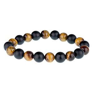 Urban Male Tiger's Eye & Matte Black Onyx 8mm Gemstone Bead Bracelet for Men