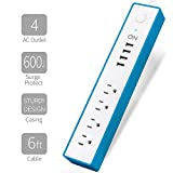 ON 4 AC Outlet Surge Protector Power Strip with 4 USB Charging Station, USB 3.1A Max Output with Level 6 Efficiency , 600 Joules Surge Suppressor, 6 FT. Power Cord - Blue