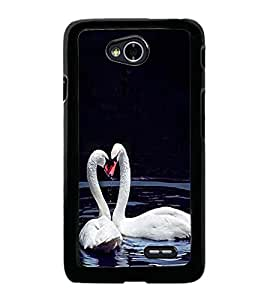 Fuson Premium 2D Back Case Cover Cute Swans in water With Yellow Background Degined For LG L70