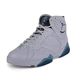 Nike Jordan Men\'s Air Jordan 7 Retro Wht/Frnch Bl/Unvrsty Bl/Flnt G Basketball Shoe 10 Men US