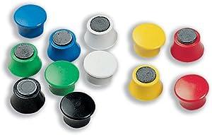 Nobo Réf 1901102 Aimants ronds en plastique Assortiment de couleurs 18 mm de diamètre Lot de 12 (Import Royaume Uni)
