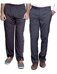 Indistar Mens Formal Trousers With Men's Premium Cotton Lower (Length Size -38) With 1 Zipper Pocket And 1 Open Pocket (Pack Of -1 Lower With 1 Trouser) - B01GEIORZK