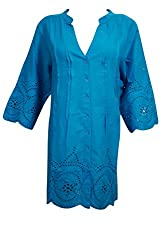 Indiatrendzs Women Embroidered Cotton Blue Shirt Style Long Tunic Chest; 44