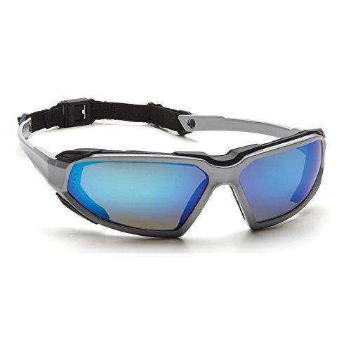 buy Pyramex Highlander Safety Eyewear, Silver-Black Frame/Ice Blue Mirror Anti-Fog Lens for sale