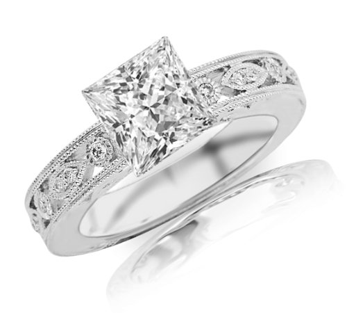 0.72 Carat Princess Cut/Shape 14K White Gold Antique / Vintage Bezel Set Designer Diamond Engagement Ring With Milgrain ( H-I Color , Vs1 Clarity )