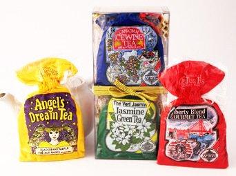 Gourmet Tea Sampler Assortment Gift Set with 4 Different Flavor Varieties in 4 Decorative Collectible Cloth Sacks, 40 Tea Bags - SALE