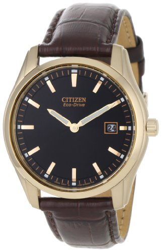 """Citizen Men'S Au1043-00E """"Eco-Drive"""" Stainless Steel Watch With Brown Leather Band"""