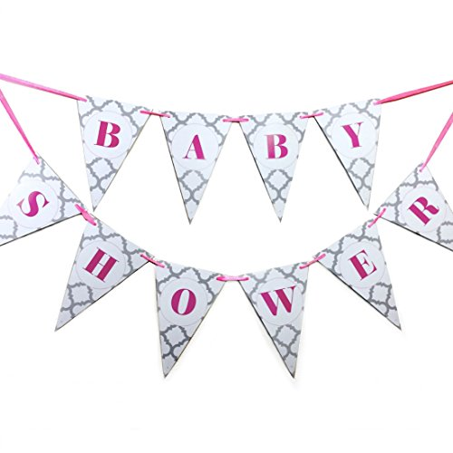 Bobee Baby Girl Shower Banner - Pink & Grey Decorations (Streamer Baby Shower compare prices)