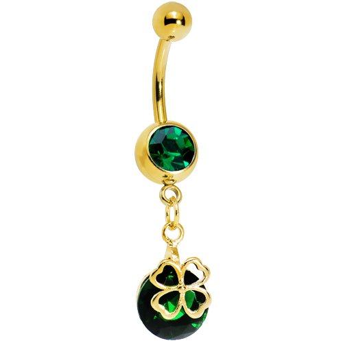 Gold Plated Emerald Green Gem Four Leaf Clover Belly Ring