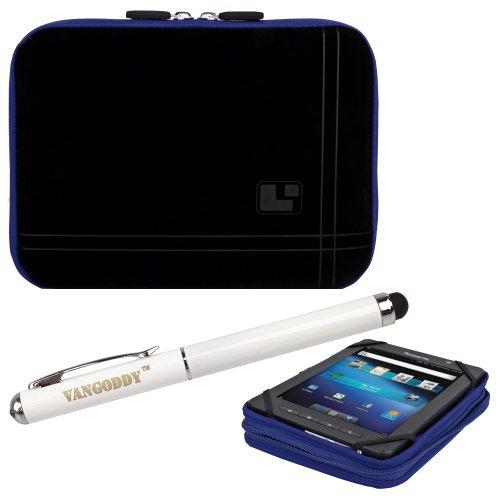 8 Inch Tablet Case Streak Blue Neoprene Bubble Padded Zippered Sleeve (Fits the Maylong M-250) + 3 In 1 Stylus/Laser Pointer/LED Flashlight