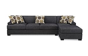 Bobkona Poundex Benford Collection Faux Linen Chaise Sofa, 2-Piece, Ash Black