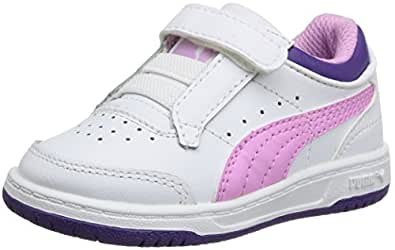 Puma Full Court Lo Kids Wh Purp, Baskets mode fille - Blanc (White/Purple/Heliotrope), 21 EU