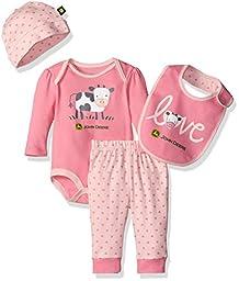 John Deere Girls\' Cow 4 Piece Gift Set, Medium Pink/Light Pink, 0-3 Months