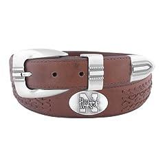 NCAA Nebraska Cornhuskers Full Grain Leather Braided Concho Belt, Brown, 32-Inch by ZEP-PRO