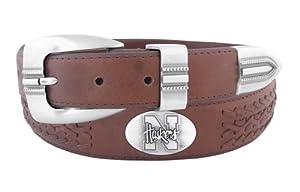 NCAA Nebraska Cornhuskers Full Grain Leather Braided Concho Belt, Brown, 34-Inch by ZEP-PRO