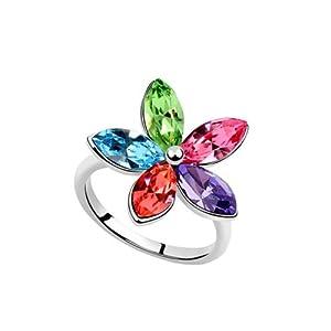 Dreamslink Fashion 18k White Gold Plated Ring Multicolor Swarovski Elements Austrian Crystal Ring Faceted Crystal Five-Petal Flower Ring 93387