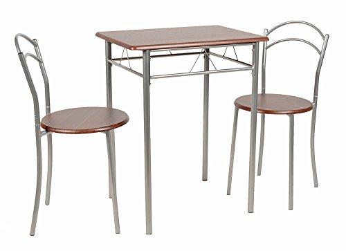 ts-ideen-3er-Set-Essgruppe-Esstisch-Kchentisch-Tisch-Sthle-platzsparend-Alugestell-in-Silber-und-Nussbaum-Optik-60-x-45-cm-fr-die-Kche-Esszimmer-Studentenwohnung