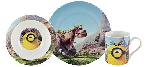 Minions - Set per la colazione, motivo: Minion e dinosauro nella preistoria, ciotola e tazza in porcellana