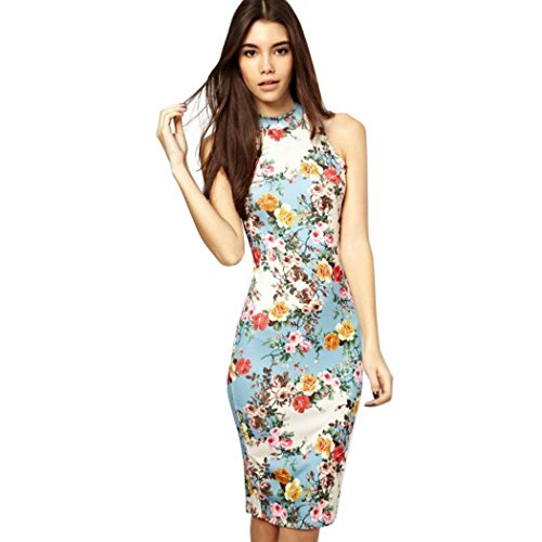 Cnlinkco Women Pastoral Floral Printed Sleeveless Party Cocktail Vintage Mini Dress