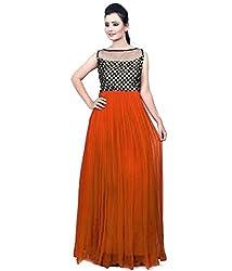 Clickedia Women & Girls Beautiful Orange & Black Semi Stitched Net Gown