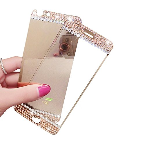 Gravydeals Gold Mirror Effect Anti Scratches Front + Back Diamond Tempered Glass Screen Protector Film Decal Skin Sticker for Apple iPhone 5 5S SE