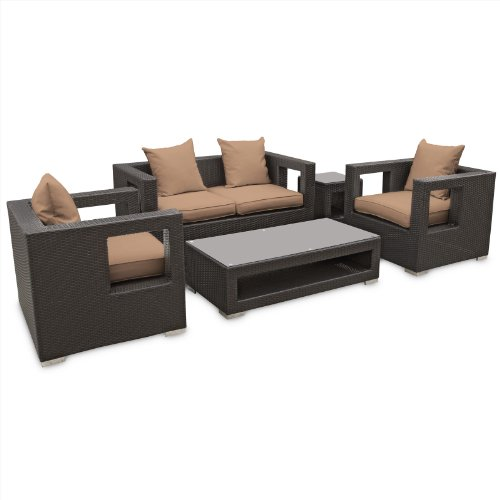 LexMod Lunar Outdoor Wicker Patio 5 Piece Sofa Set in Espresso with Mocha Cushions picture