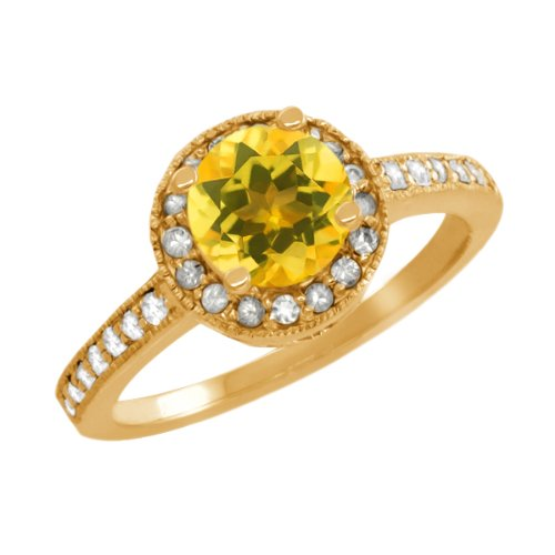 1.00 Ct Round Citrine Sapphire Gold Plated Sterling Silver Ring