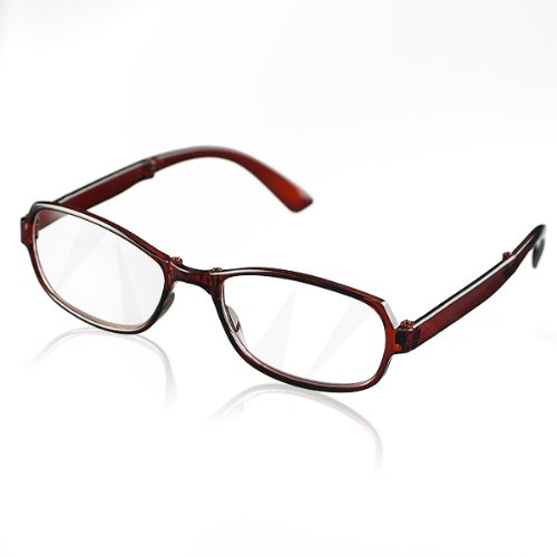 New Brown Portable Mini Folding Full Frame Presbyopic Reading Glasses With Eyeglasses Protective Case +1.50 front-966788