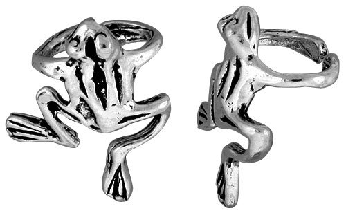 Sterling Silver Frog Cuff Earring (one piece) 11/16 inch