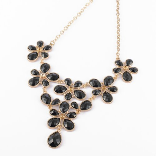 Fashion Golden Chain Water Drop Black Resin Beads Bubble Crotch Pendant Statement Bib Necklace