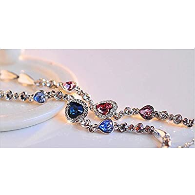 iBaste Swarovski Elements Crystal Bracelet Czech Diamond Hand Chain Titanic The Heart of the Ocean Diamond Necklace