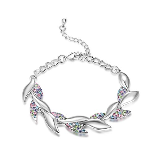Old Rubin Exquisite Women Jewelry Accessories – White Gold Plated Shiny Diamond Accent Willow Leaf Link Charm Bracelet Bangle for Lady – 100% Satisfaction or Money Back Guarantee