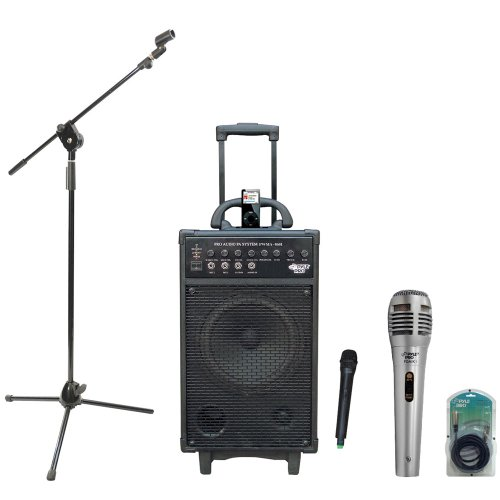 Pyle Speaker, Mic, Stand And Cable Package - Pwma860I 500W Vhf Wireless Portable Pa System /Echo W/Ipod Dock - Pdmik1 Professional Moving Coil Dynamic Handheld Microphone - Pmks3 Tripod Microphone Stand W/ Extending Boom - Ppfmxlr15 15Ft. Xlr Male To Xlr
