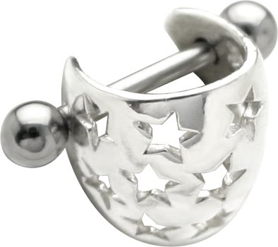925 Sterling Silver STAR BRIGHT Cartilage Ear Cuff - Cartilage Helix Piercing