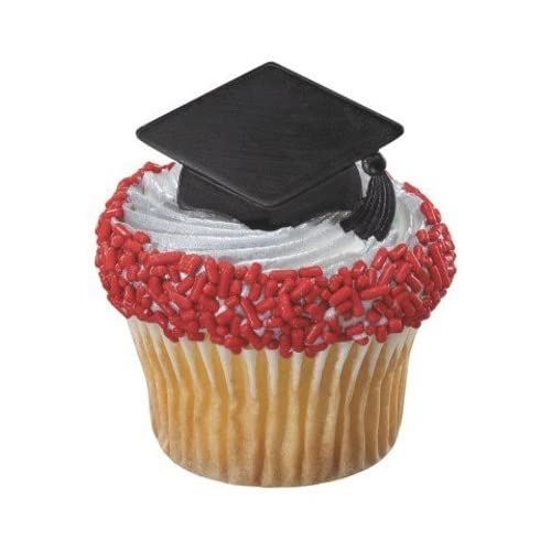 Congrats Grad Black Cap Cupcake Topper Rings - Set of 12