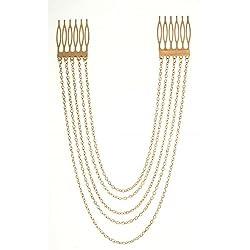 Crunchy Fashion Golden Alloy multichain Hair Chain For women