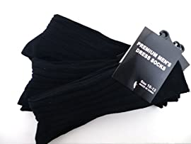 Mens Premium Dress Socks - 3 Pack Mens Dress Sock (Black)