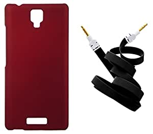 Toppings Hard Case Cover With Aux Cable For Gionee P4 - Red